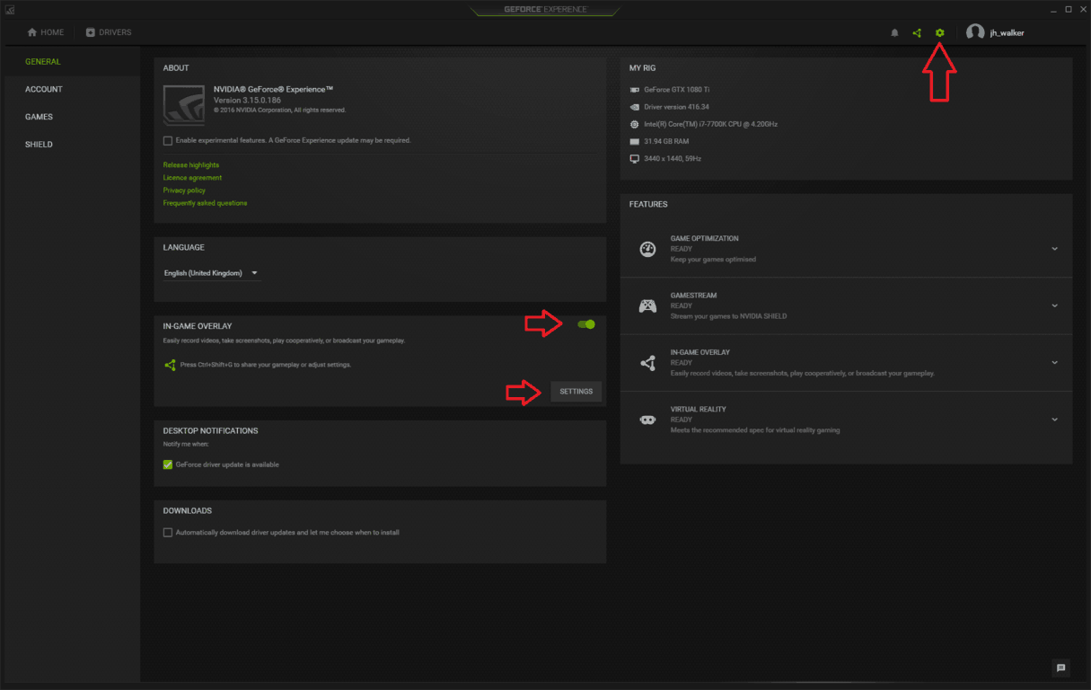 Screenshot of GeForce Experience settings