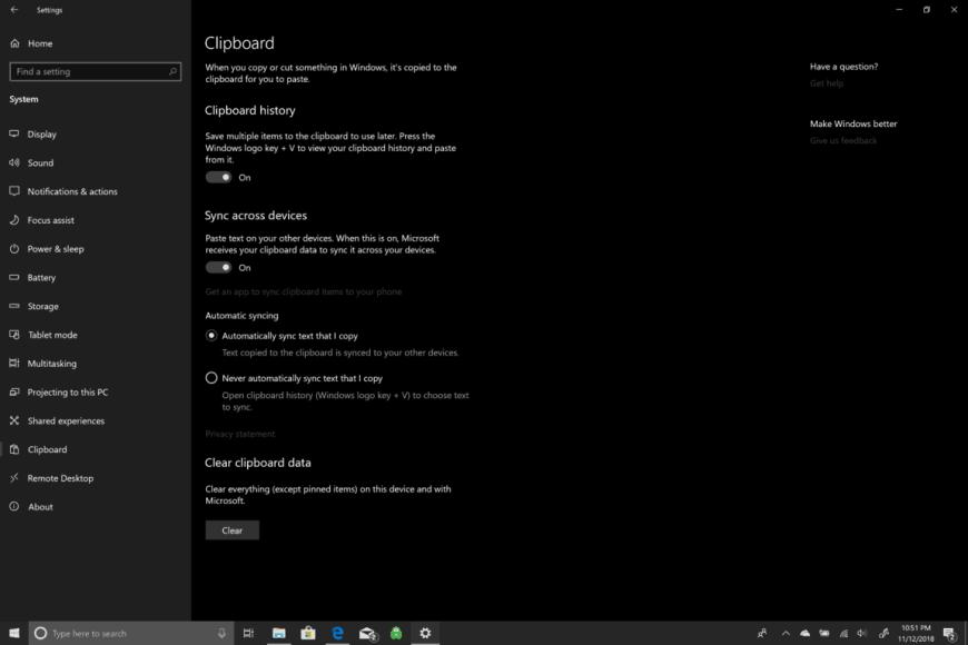 Microsoft, Windows 10, Clipboard