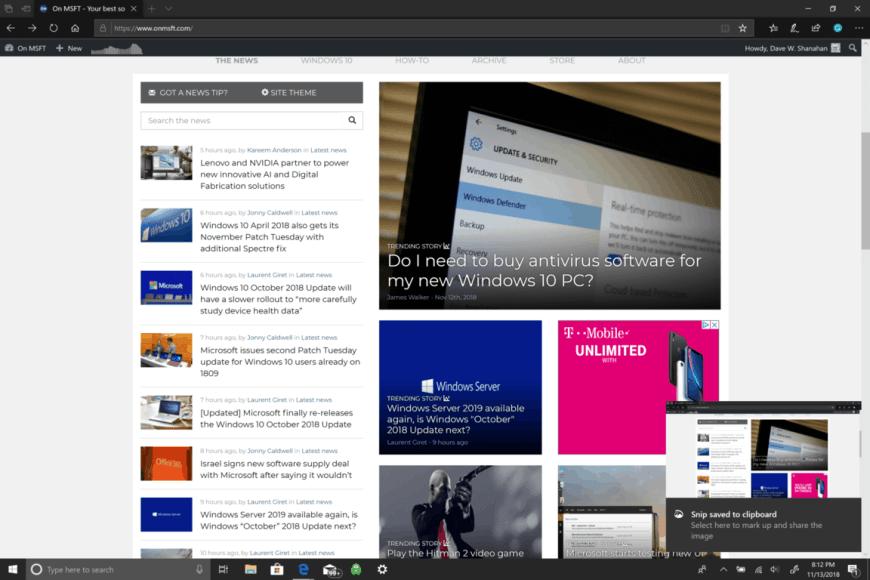 Microsoft, Windows 10, Screenshot, Snip & Sketch