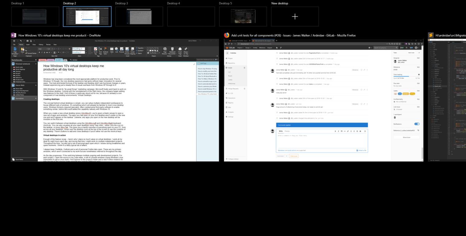 Screenshot of Virtual desktops