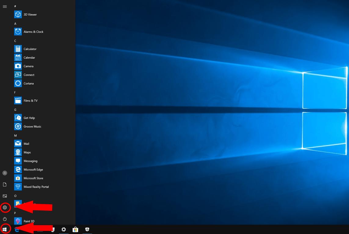Windows 10 Settings link in Start menu screenshot
