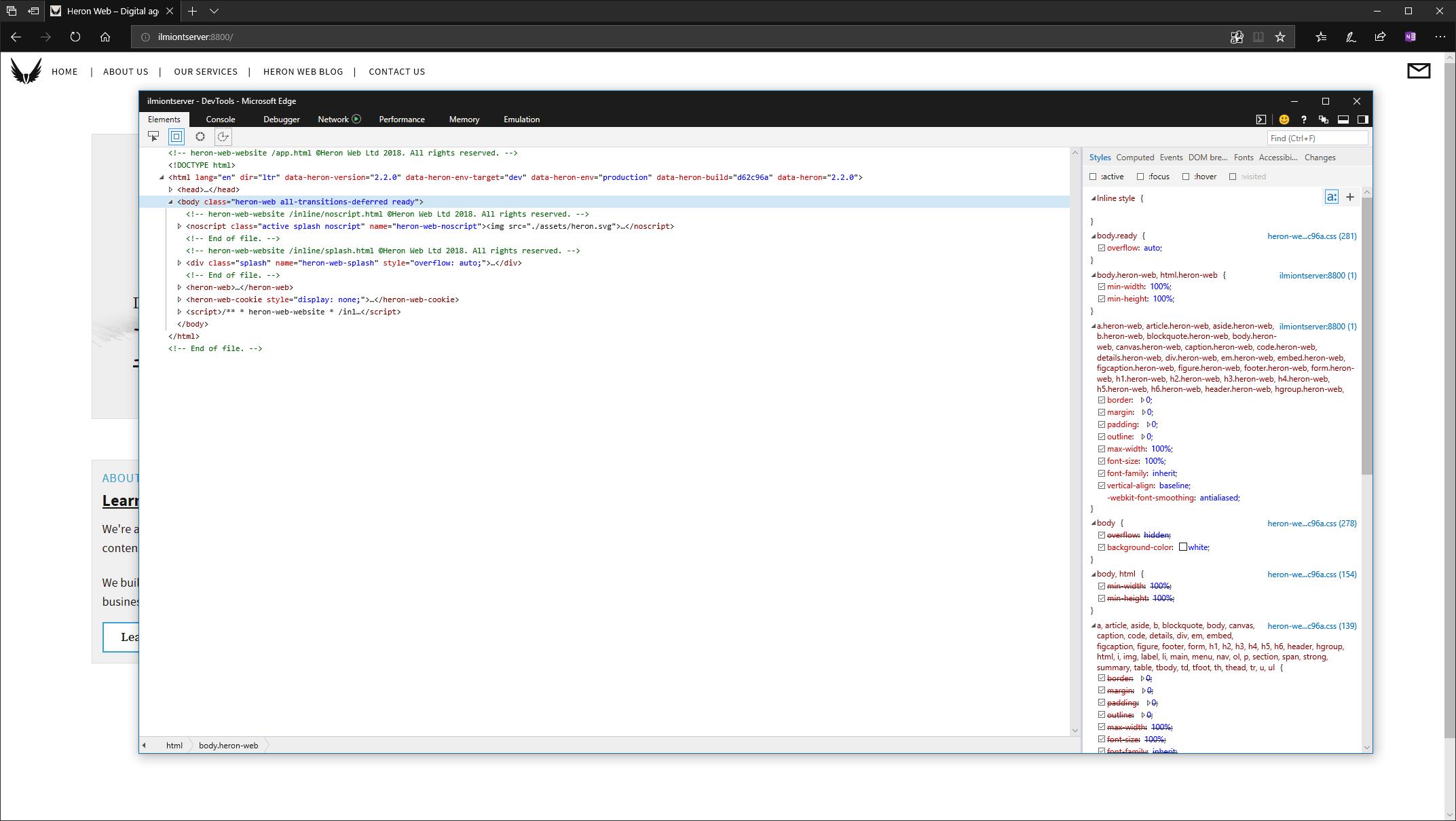 Edge dev tools screenshot