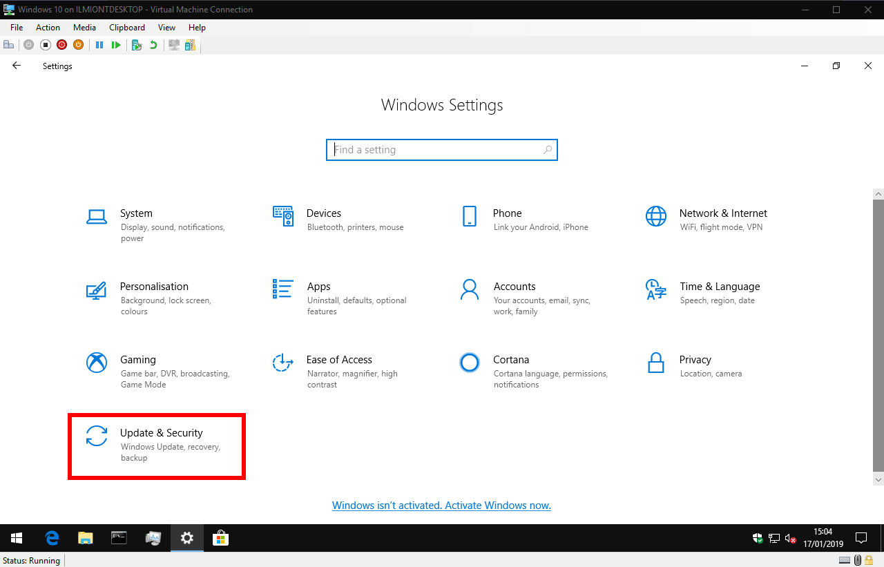 Windows 10 Settings app Update & security category