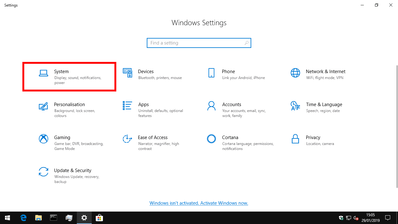 Windows 10 Settings system category