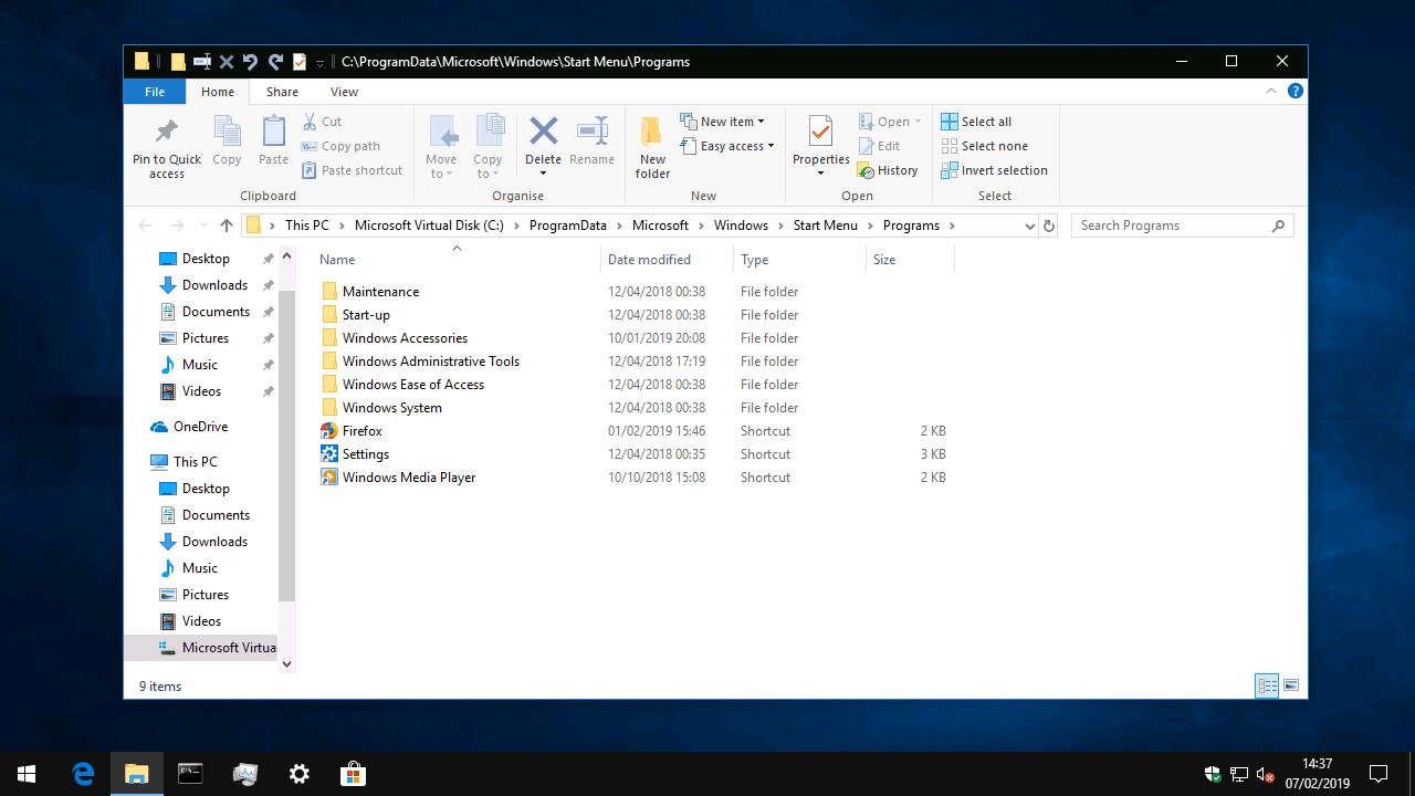 start programs windows 10 folder