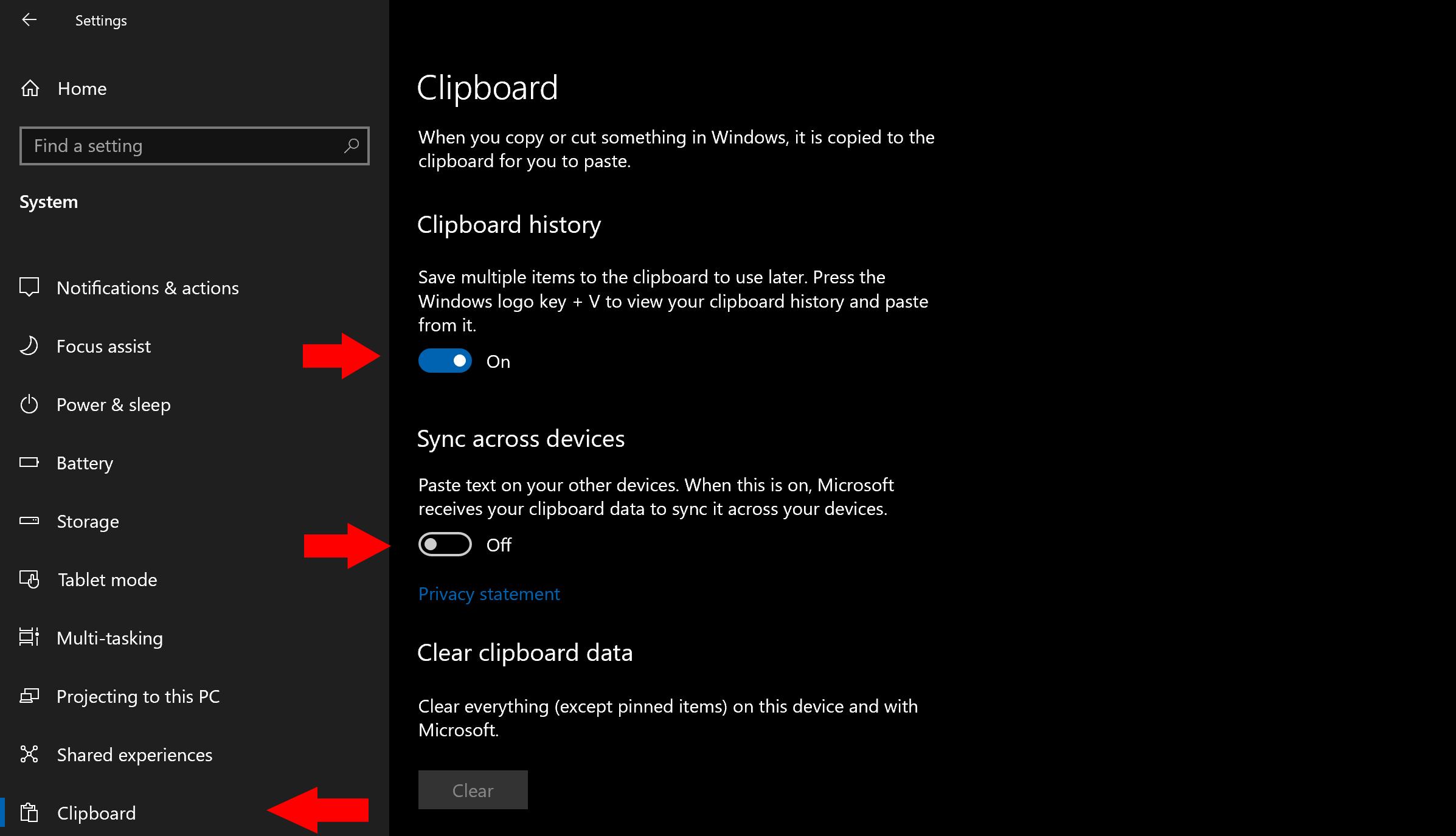 Using Windows Cloud Clipboard