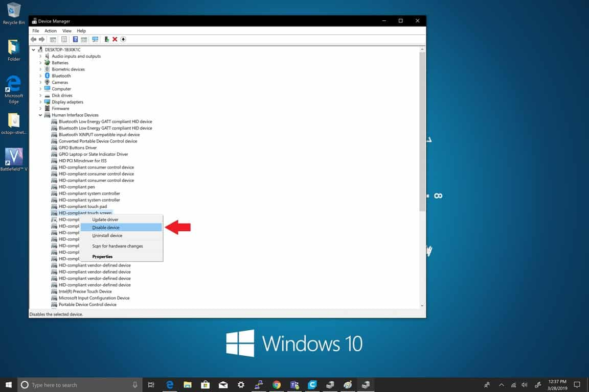 Microsoft, Windows 10, Device Manager, Settings, Touchscreen