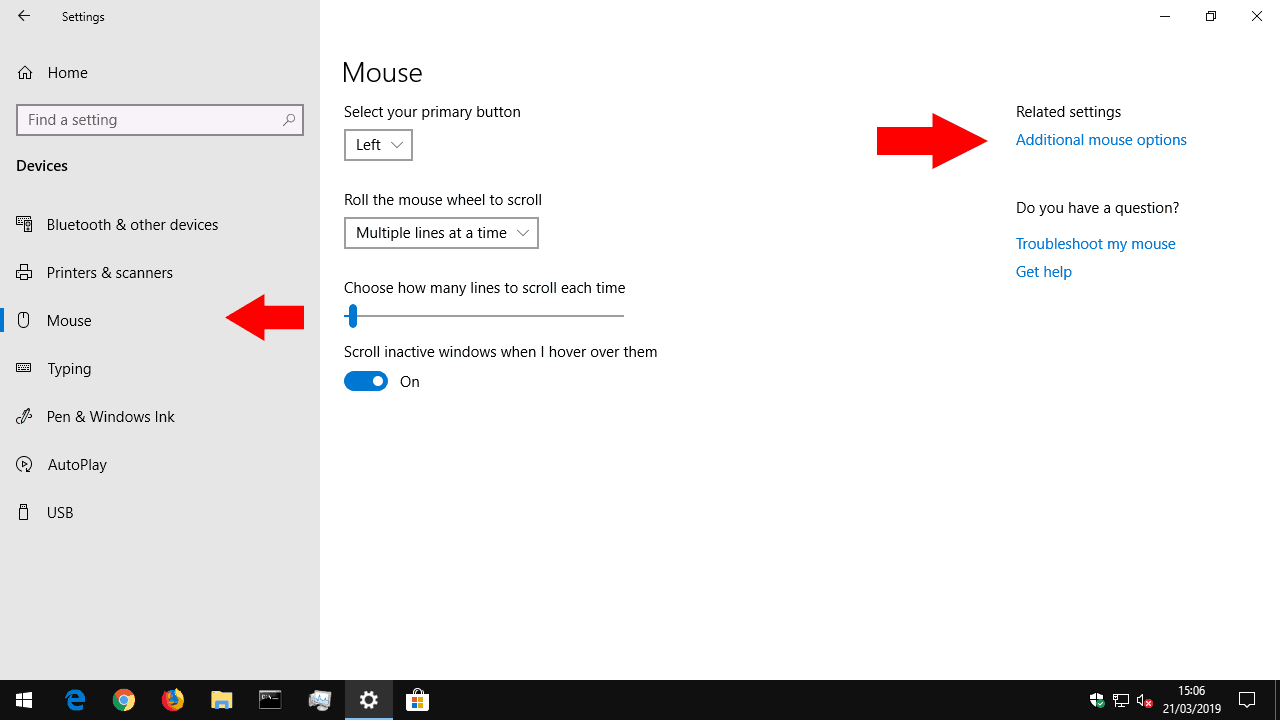 Windows Mouse settings screenshot