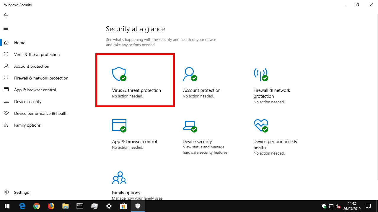 Scanning for v iruses using Windows Security Centre