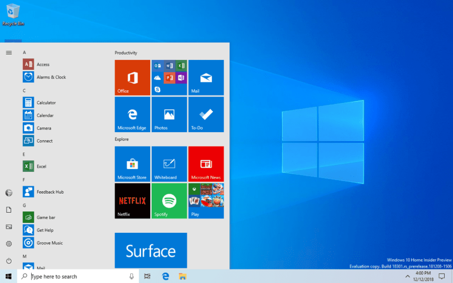 Simplified Start Menu on Windows 10 May 2019 Update doesn't