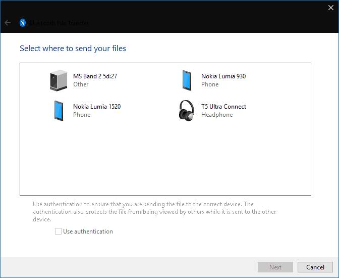 Screenshot of sending a file using Bluetooth in Windows 10