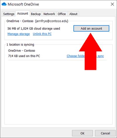 Screenshot of setting up OneDrive