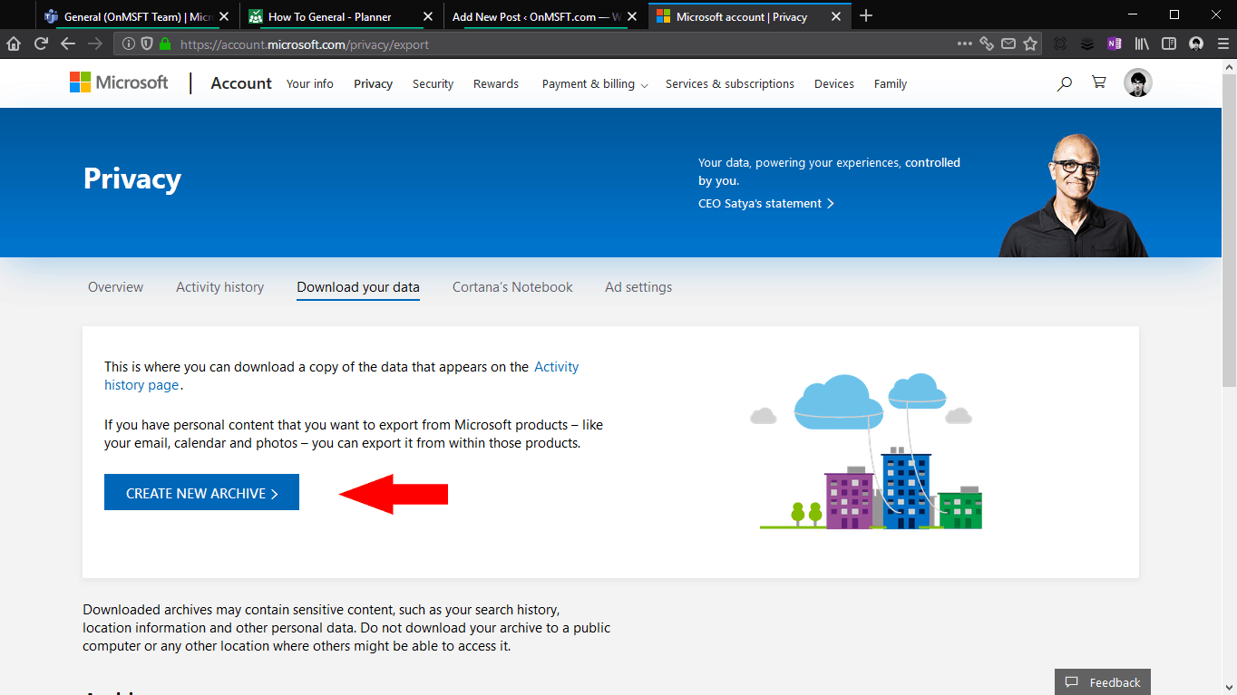 Screenshot of downloading Microsoft data