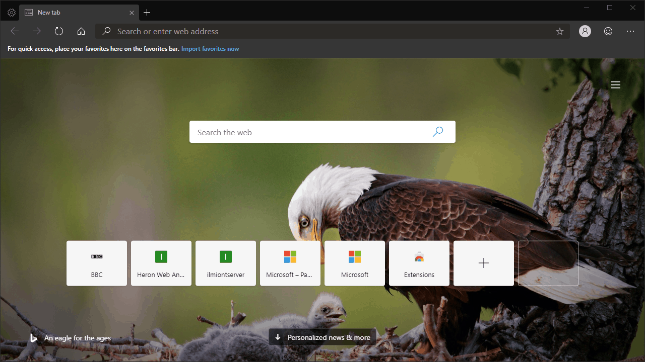 New tab page customisation in Microsoft Edge Insider
