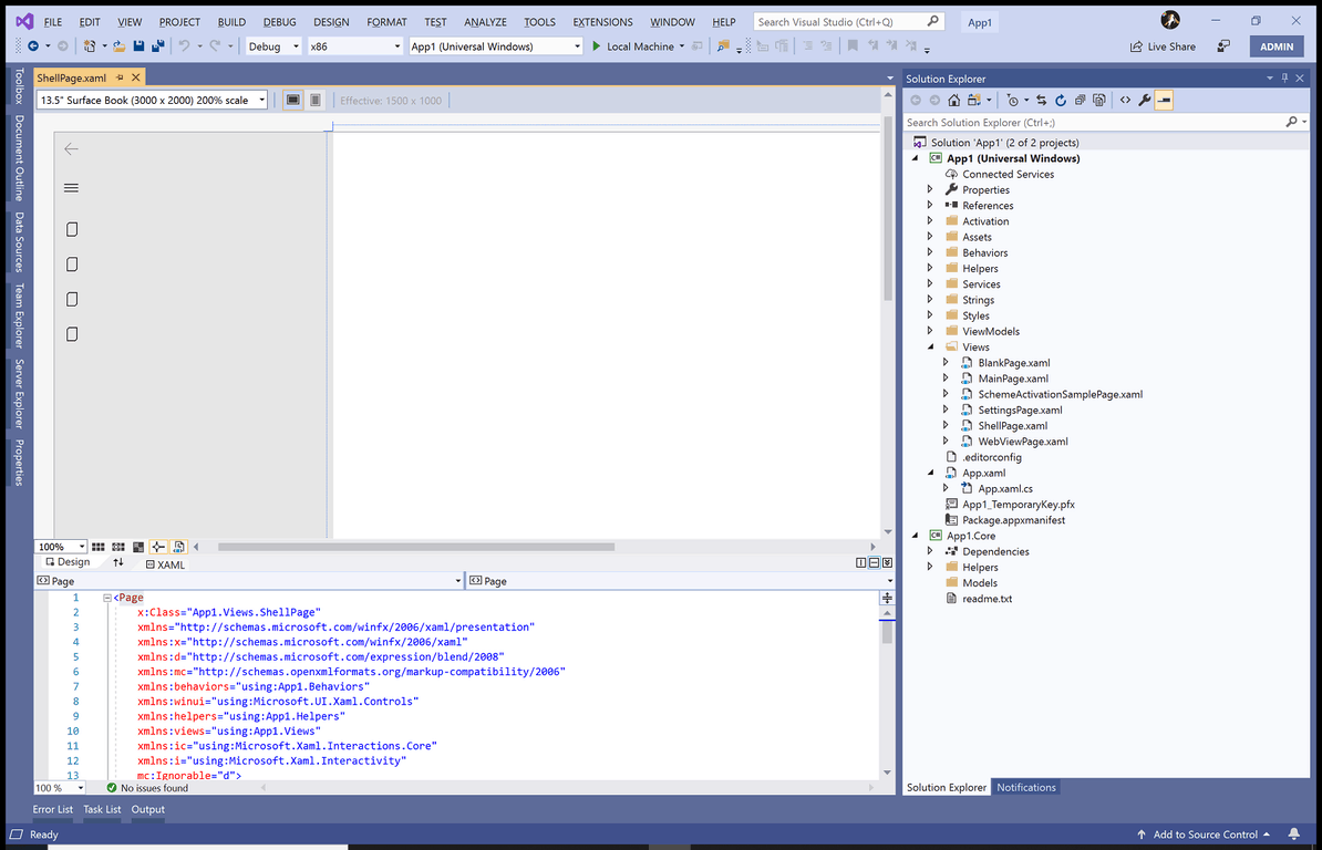 Visual Studio Windows Template Studio Application