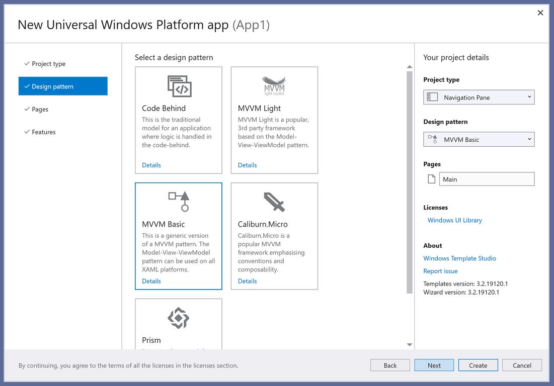 Windows Template Studio Design Pattern