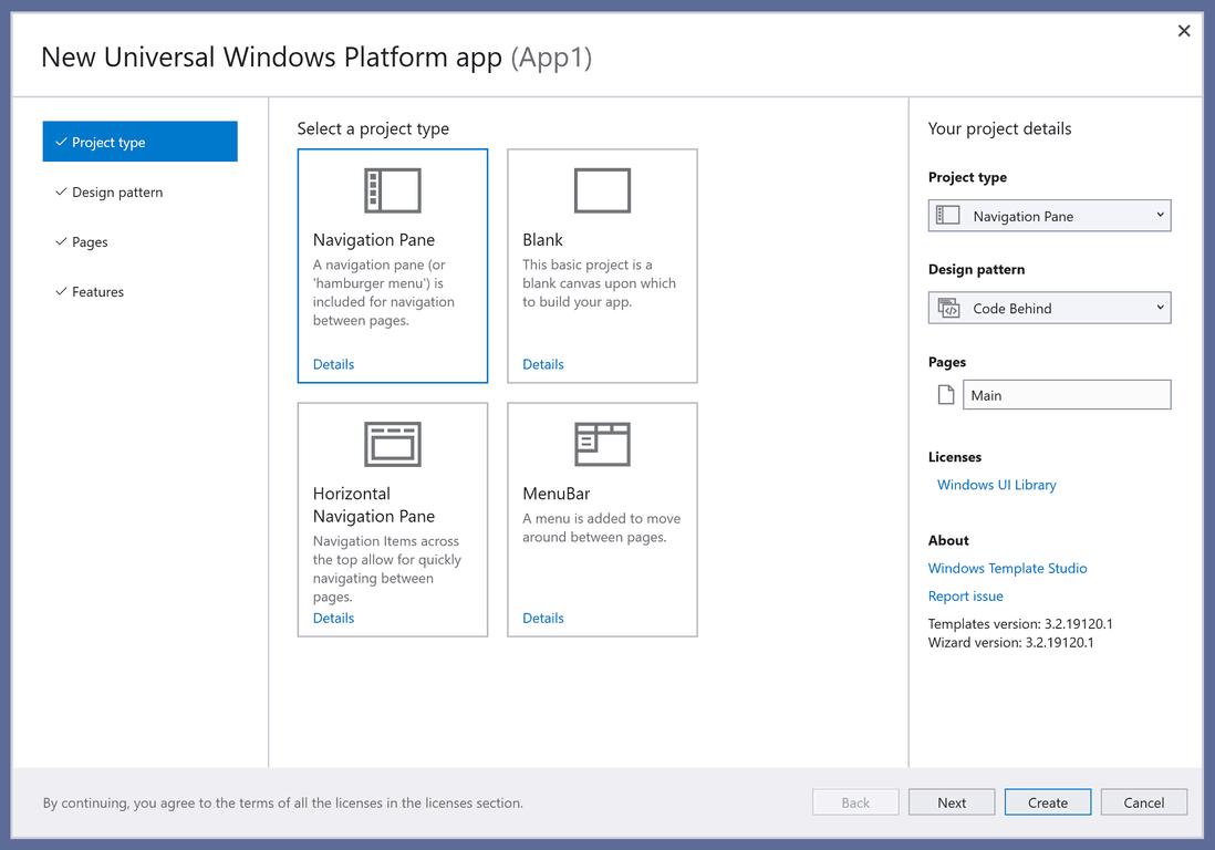 Windows Template Studio Project Type