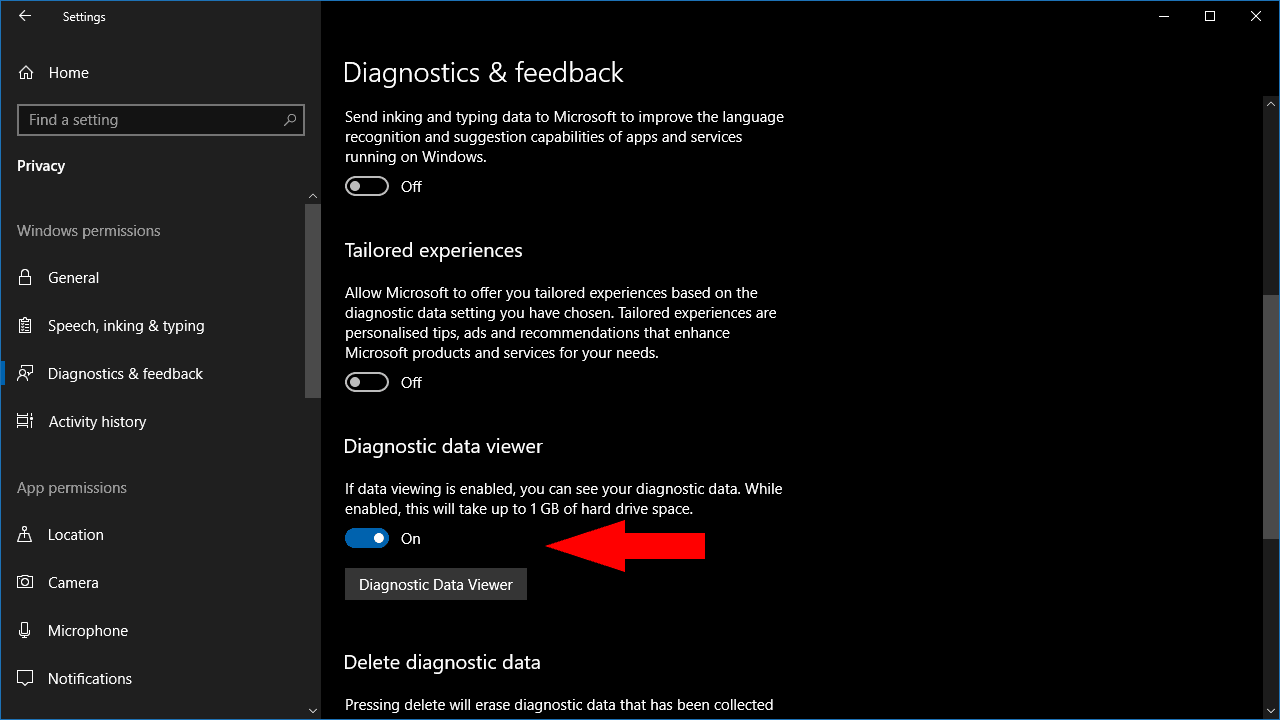 Enabling Diagnostic Data Viewing in Windows 10