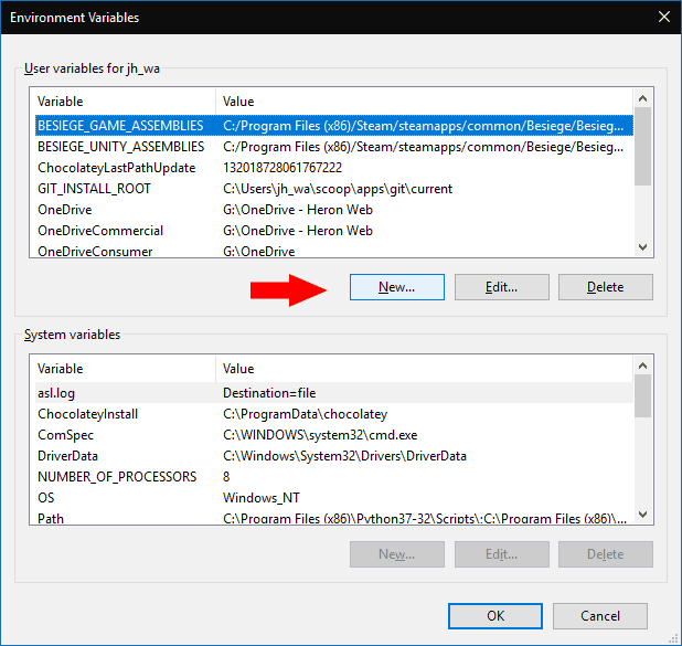Editing environment variables in Windows 10