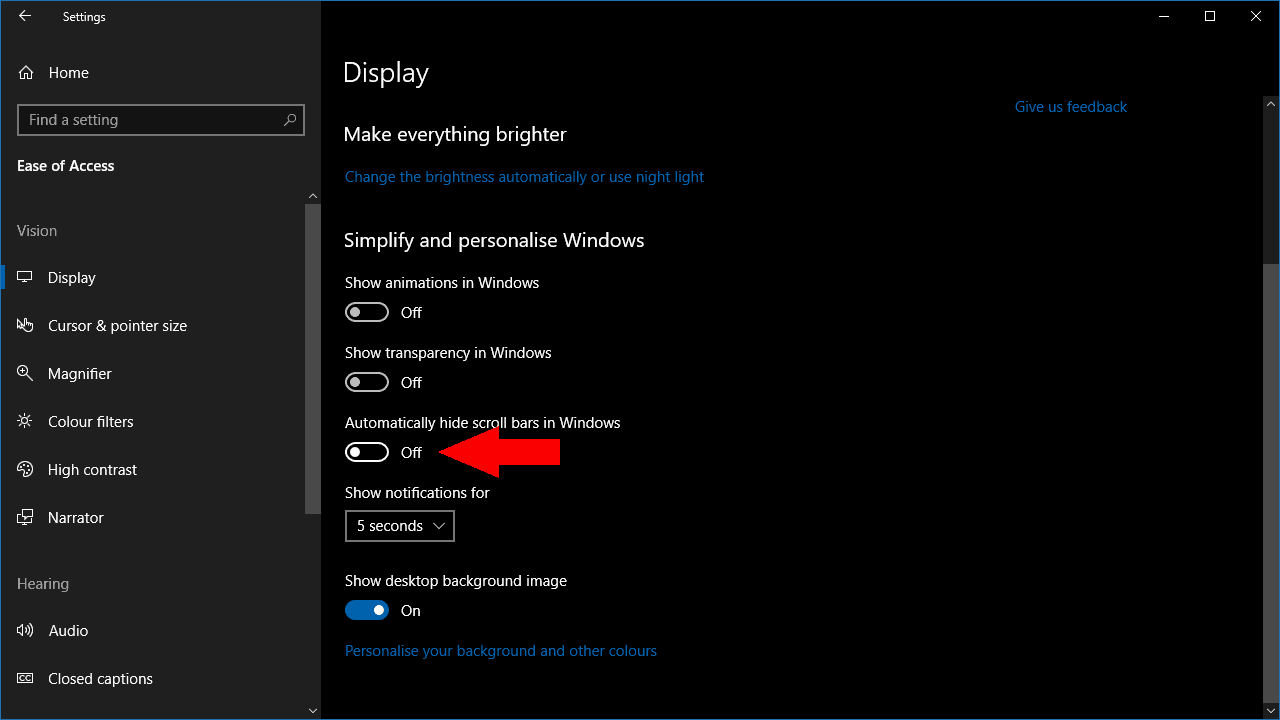 Screenshot of disabling scrollbar hiding in Windows 10