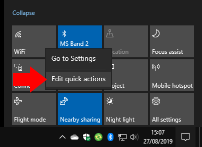 How to set your Quick Actions in the Windows 10 May 2019 Update