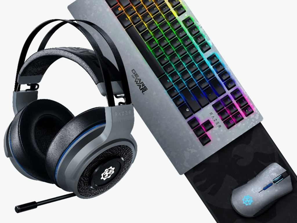 Gears 5 Razer headset and keyboard.