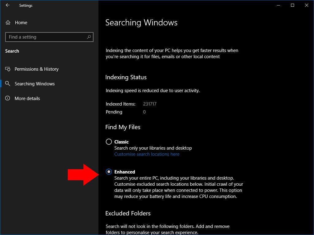 Enhanced Search settings in Windows 10