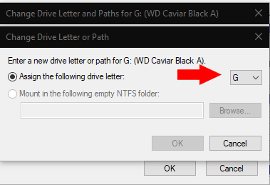 Changing drive letters in Windows 10