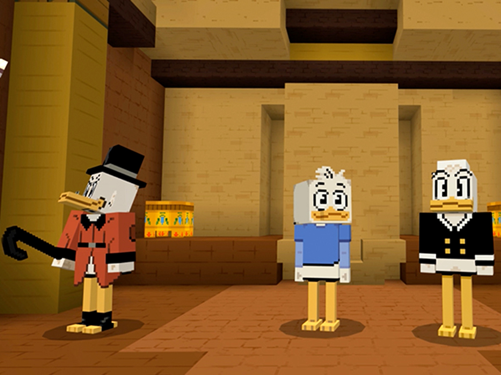 Disney DuckTales characters in Minecraft video game on Xbox One and Windows 10