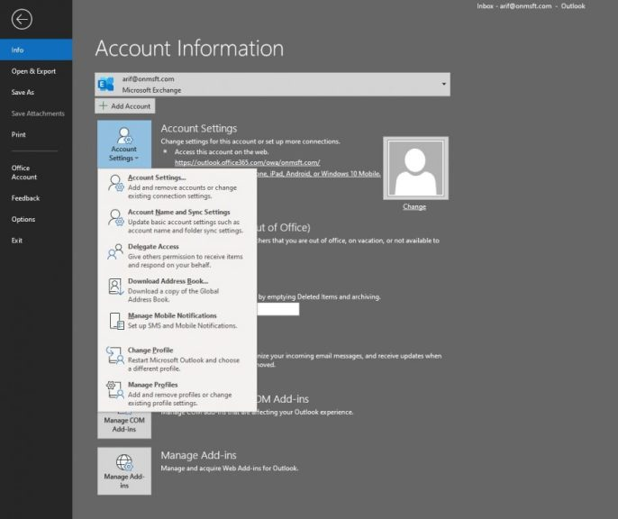 How to set up and manage your email account in Outlook in