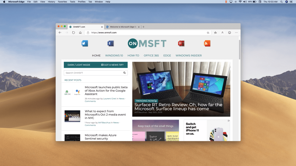 Microsoft Edge Insider Beta channel gets its first update