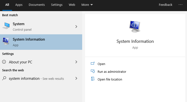 System Information in Windows 10
