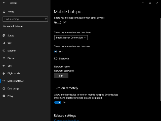 Screenshot of setting up a wi-fi hotspot in windows 10