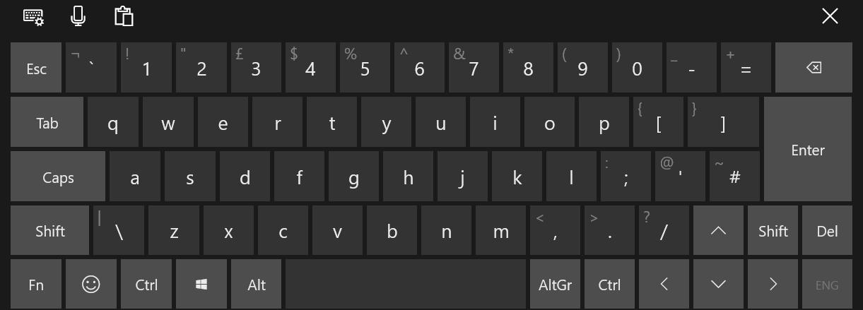 Touch keyboard in Windows 10