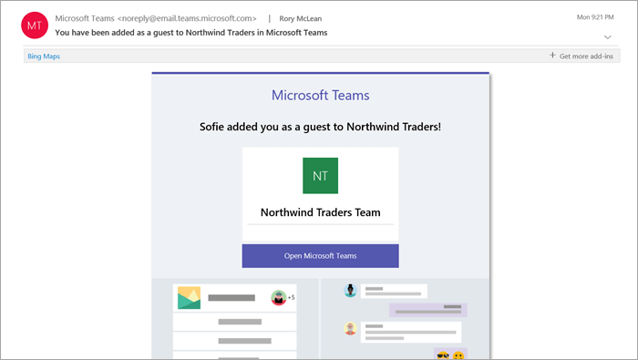 Screenshot of email sent to Microsoft Teams guests (Attribution: Microsoft)