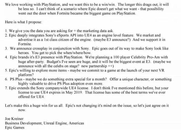 Sony-Epic Games Correspondance