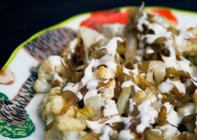 roasted cauliflower and zucchini with tahini sauce recipe
