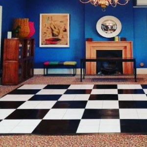 Black and white checkered dance floor for a wedding