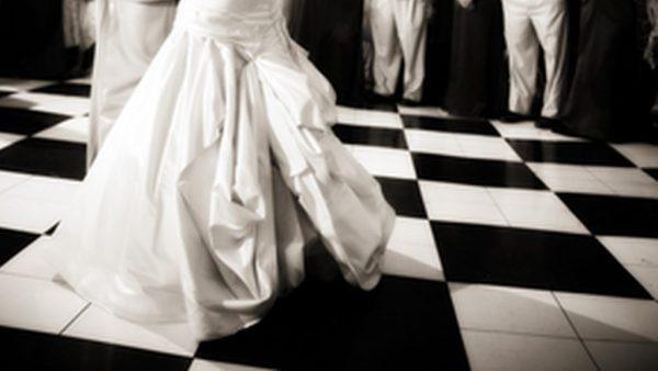 dress on checkered dance floor