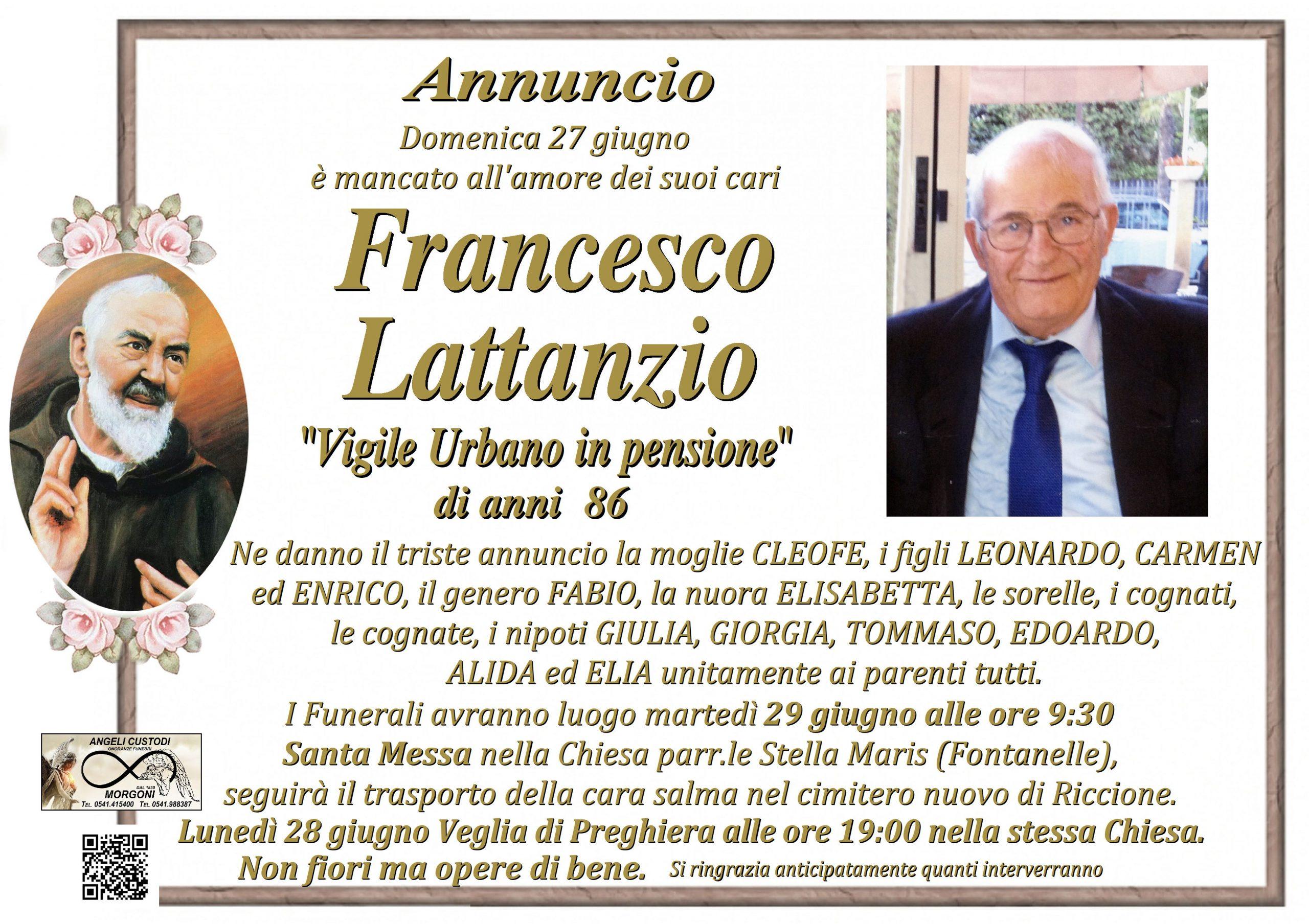 """Ricordiamo Francesco Lattanzio """"Vigile Urbano in pensione""""        – di anni 86"""