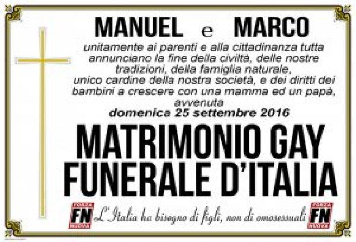 manifesto fn contro nozze gay