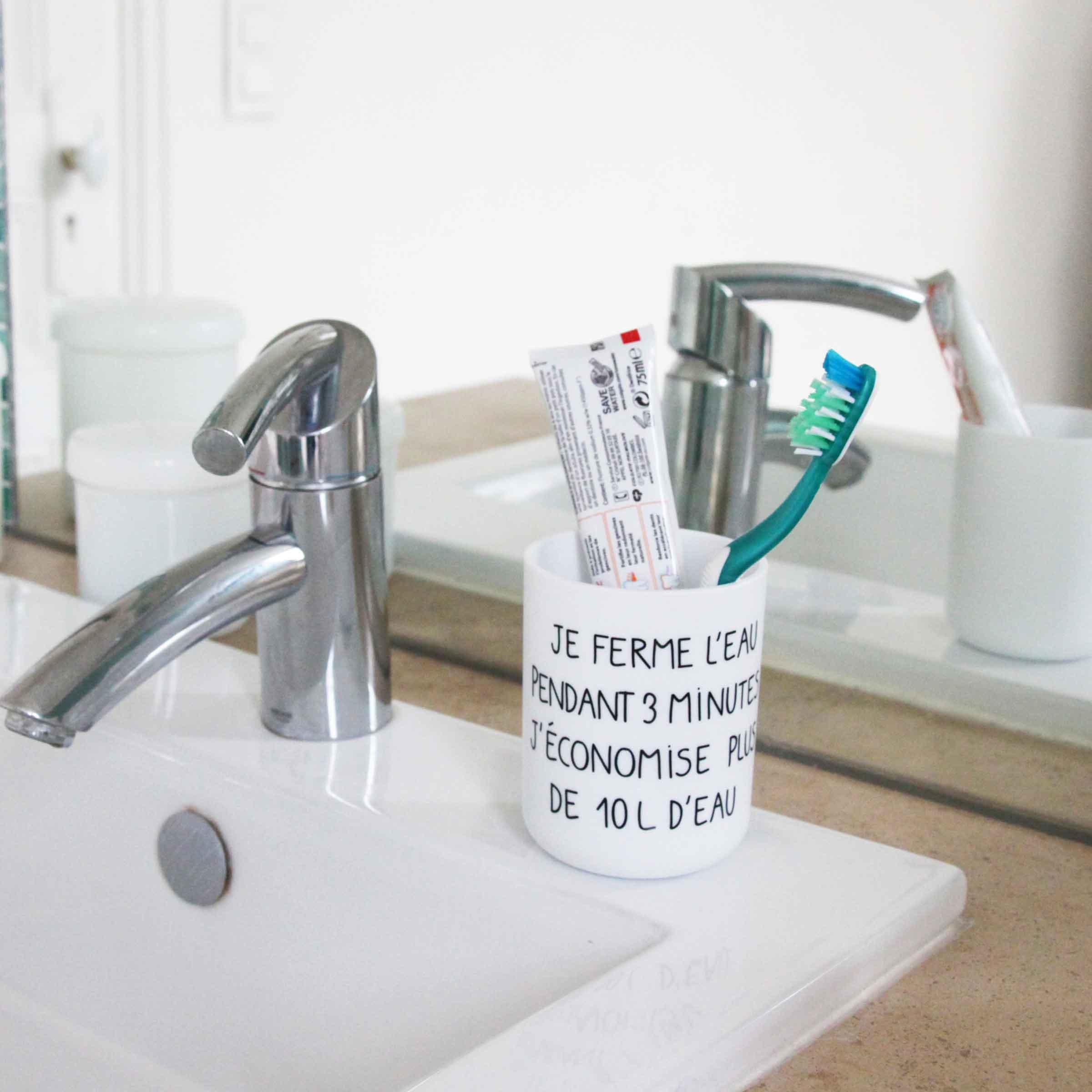 Verre A Dents Avec Message Ecolo