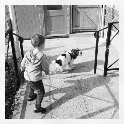 Dog & boy chasing bubbles... #isleofwight