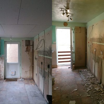 Progress - today on left. New ceiling, new electrics...
