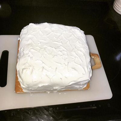 Stage 3 of cake done...decoration will happen once icing is dry and Sqk can help...