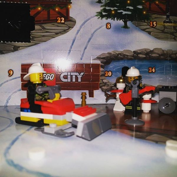 #legocityadvent Day 6: our fireman friend likes his new snow-plough particularly as snow seems to have fallen...