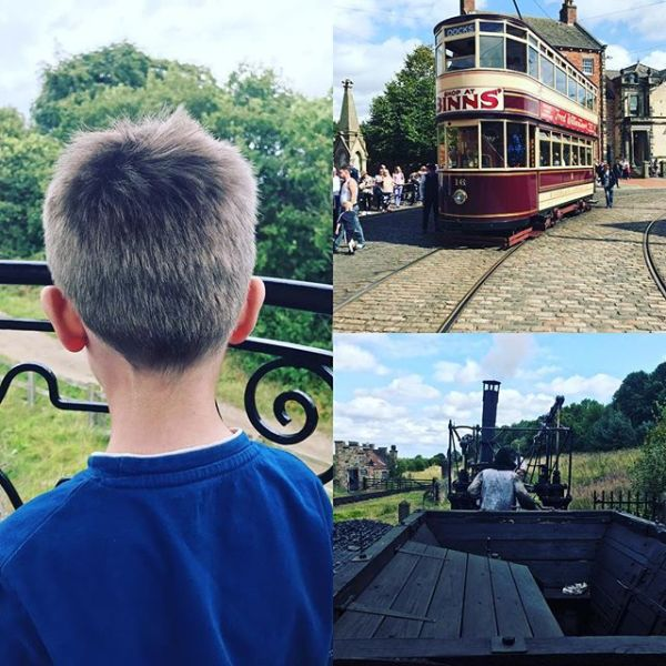 Great day at Beamish. Sqk loved the trams & riding behind replica 1813 steam engine...
