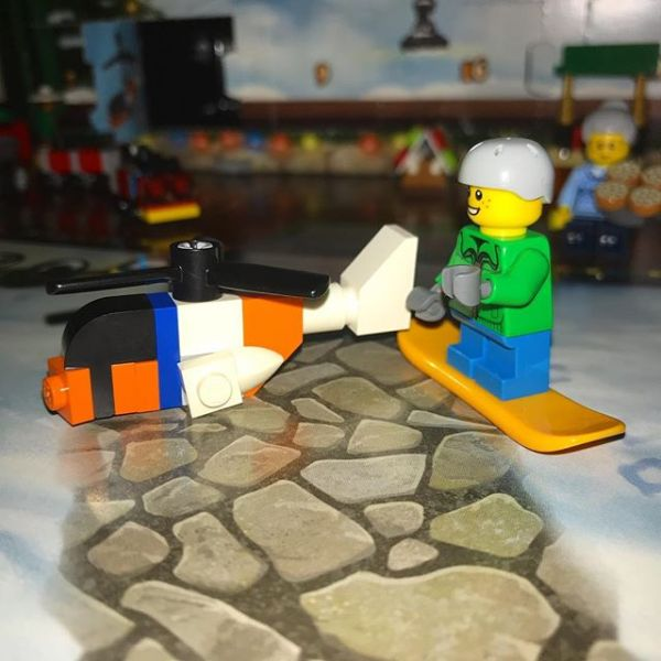 Snowboard boy not entirely sure about the helicopter addition to #legocityadvent today ...