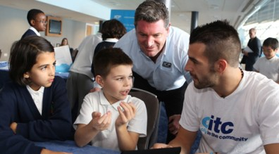 Alvardo Negredo takes part in a CITC Spanish lesson with ICP Networks MD Matt Archer