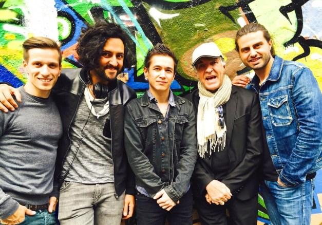 Julien Botas, Jérome Kério ( chanteur) , Simon Strauss et Florent Gayat avec Grégoire Colard